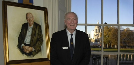 Sir David at the unveiling of his portrait by artist Mandy Shepherd