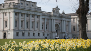 The National Maritime Museum with daffodils in bloom