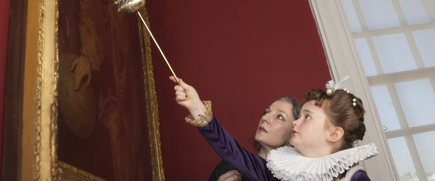 Christina Ryder and Royal Museums Greenwich curator look at Armada Portrait together